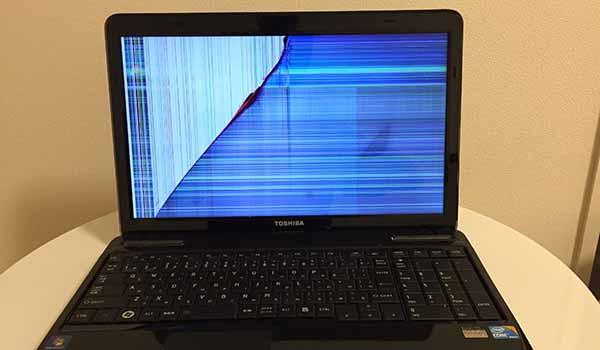 ノートパソコン液晶ディズプレイ故障_故障画像