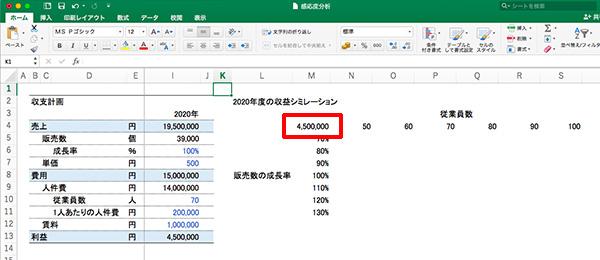 エクセル感度分析_画像12