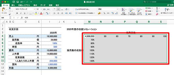 エクセル感度分析_画像13