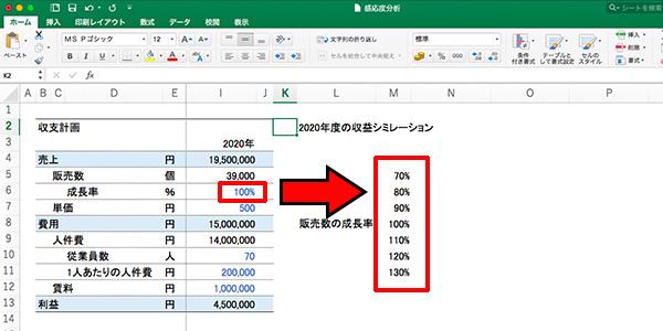 エクセル感度分析_画像8