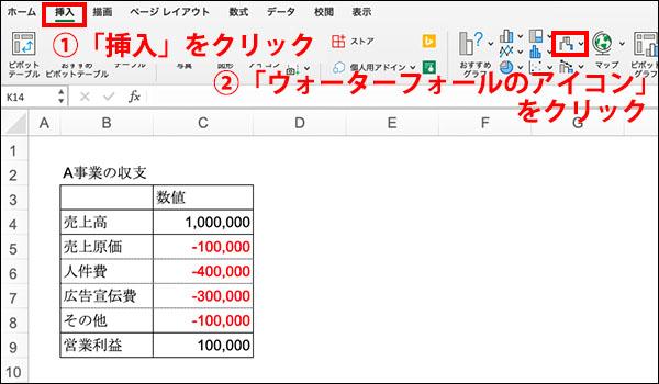 エクセル_滝チャートの作り方ブログ_画像4.5
