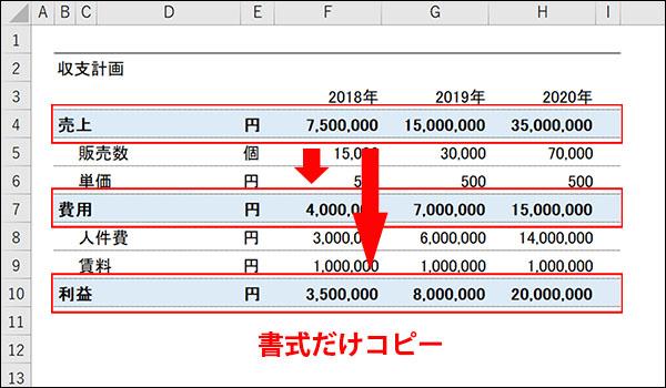 エクセルの書式だけコピーする方法ブログ_画像1