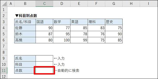 エクセルの交差する値の検索方法_画像3